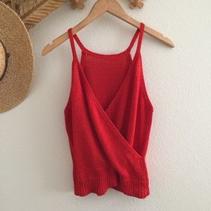 Vintage Tops - Vintage bright red high neck tank top